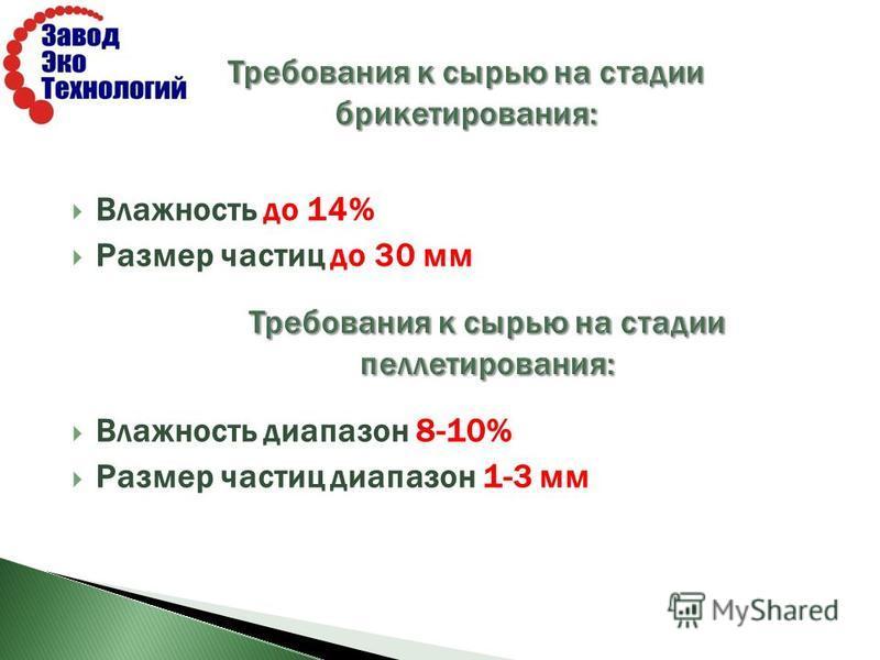 Влажность до 14% Размер частиц до 30 мм Влажность диапазон 8-10% Размер частиц диапазон 1-3 мм