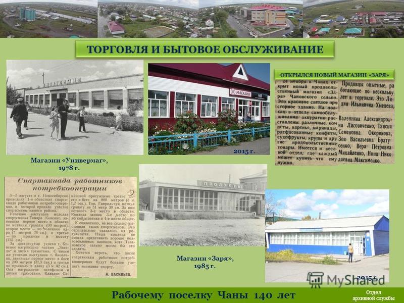 Магазин «Универмаг», 1978 г. Магазин «Заря», 1985 г. Рабочему поселку Чаны 140 лет Отдел архивной службы 2015 г.