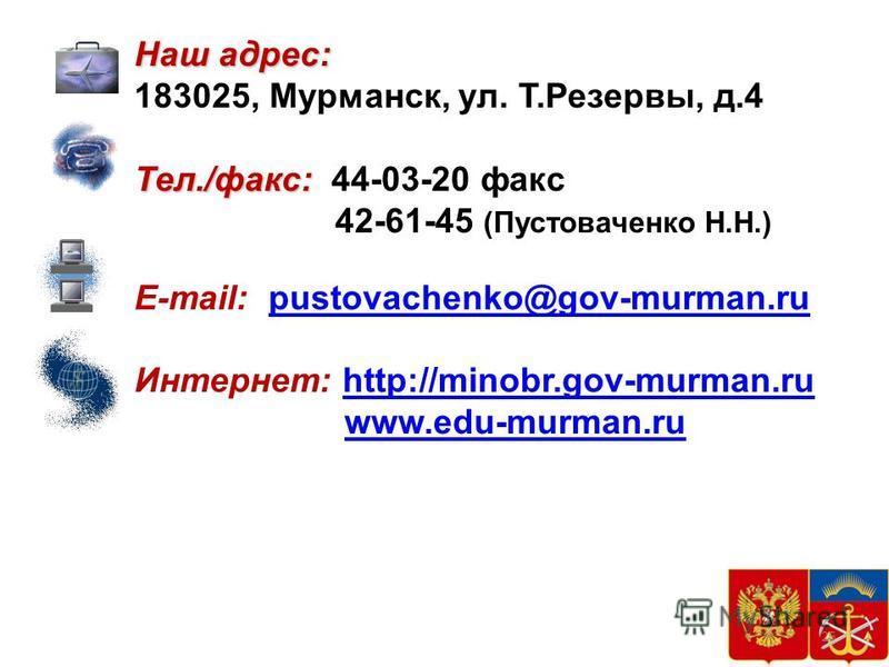 37 25 Наш адрес: 183025, Мурманск, ул. Т.Резервы, д.4 Тел./факс: Тел./факс: 44-03-20 факс 42-61-45 (Пустоваченко Н.Н.) E-mail: pustovachenko@gov-murman.rupustovachenko@gov-murman.ru Интернет: http://minobr.gov-murman.ruhttp://minobr.gov-murman.ru www