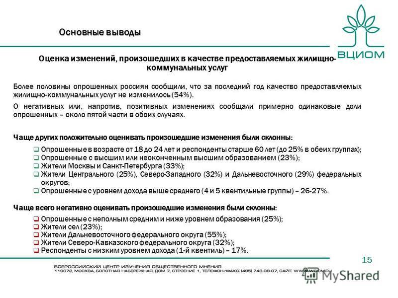 15 Основные выводы Оценка изменений, произошедших в качестве предоставляемых жилищно- коммунальных услуг Более половины опрошенных россиян сообщили, что за последний год качество предоставляемых жилищно-коммунальных услуг не изменилось (54%). О негат