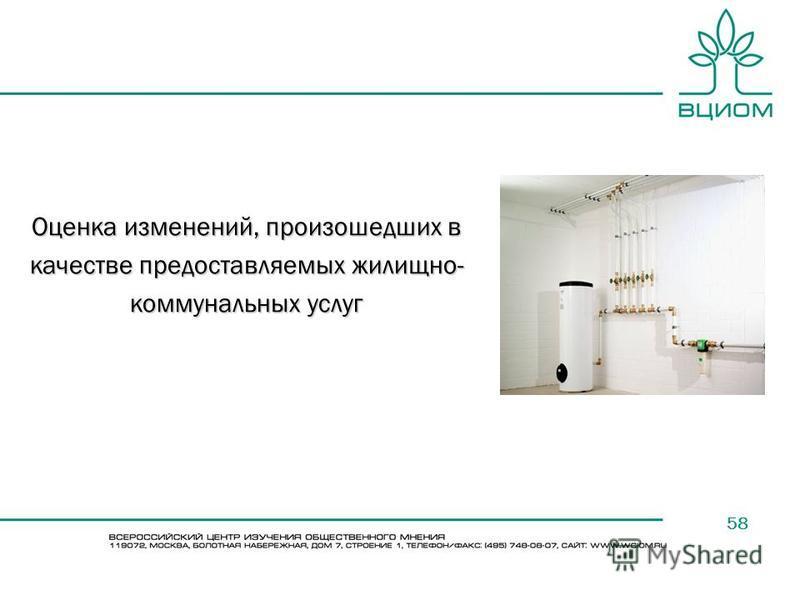58 Оценка изменений, произошедших в качестве предоставляемых жилищно- коммунальных услуг