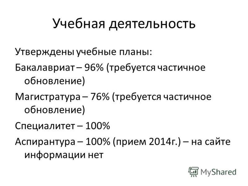 Учебная деятельность Утверждены учебные планы: Бакалавриат – 96% (требуется частичное обновление) Магистратура – 76% (требуется частичное обновление) Специалитет – 100% Аспирантура – 100% (прием 2014 г.) – на сайте информации нет