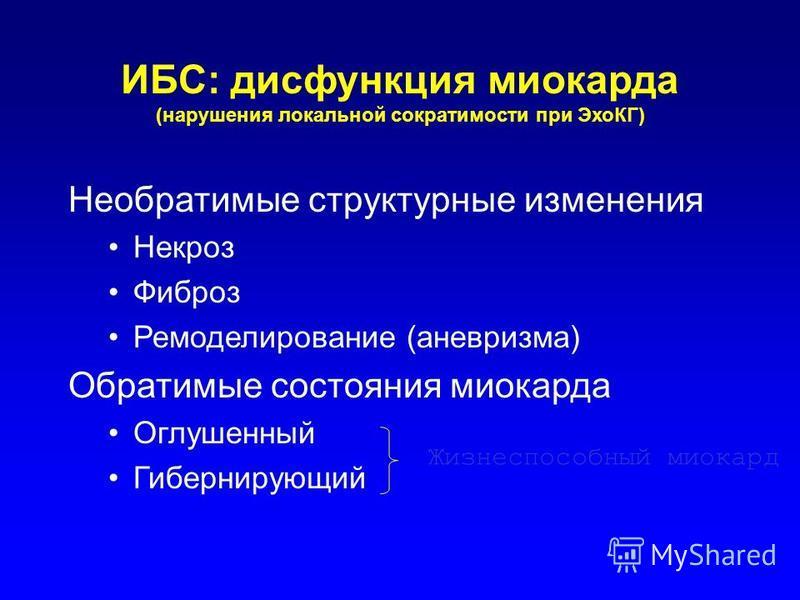 ИБС: дисфункция миокарда (нарушения локальной сократимости при ЭхоКГ) Необратимые структурные изменения Некроз Фиброз Ремоделирование (аневризма) Обратимые состояния миокарда Оглушенный Гибернирующий Жизнеспособный миокард