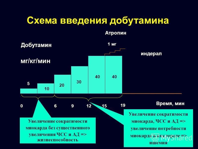 Схема введения добутамина 0 369 Время, мин индерал Добутамин мг/кг/мин 12Атропин 1 мг 15 19 5 10 20 30 40 Увеличение сократимости миокарда без существенного увеличения ЧСС и АД => жизнеспособность Увеличение сократимости миокарда, ЧСС и АД => увеличе