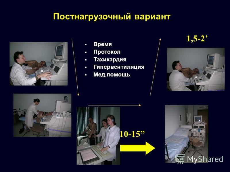 Постнагрузочный вариант 10-15 1,5-2 Время Протокол Тахикардия Гипервентиляция Мед.помощь