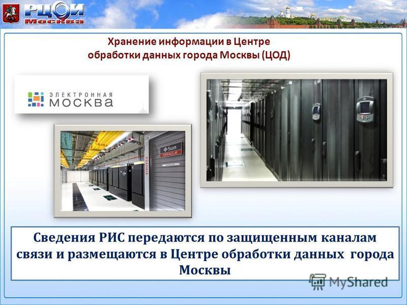 Хранение информации в Центре обработки данных города Москвы (ЦОД) Сведения РИС передаются по защищенным каналам связи и размещаются в Центре обработки данных города Москвы