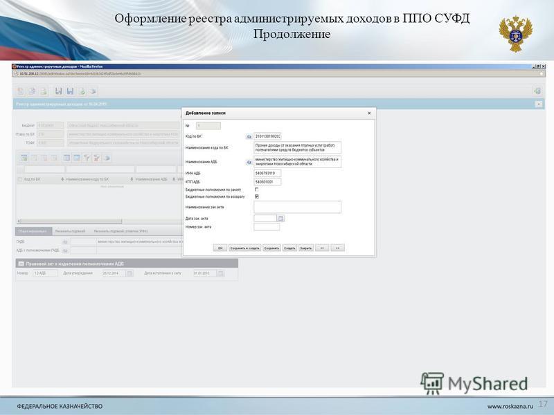 Оформление реестра администрируемых доходов в ППО СУФД Продолжение 17
