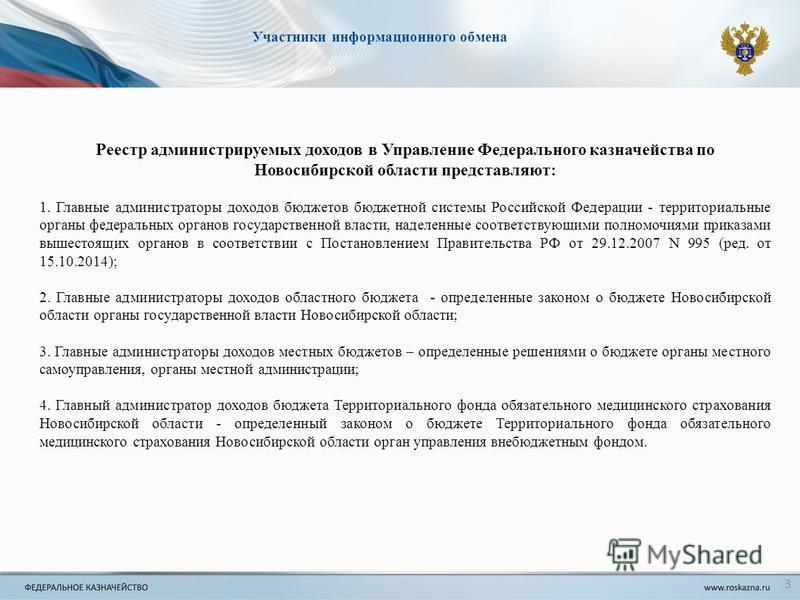 Реестр администрируемых доходов в Управление Федерального казначейства по Новосибирской области представляют: 1. Главные администраторы доходов бюджетов бюджетной системы Российской Федерации - территориальные органы федеральных органов государственн
