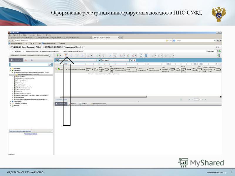 Оформление реестра администрируемых доходов в ППО СУФД 9
