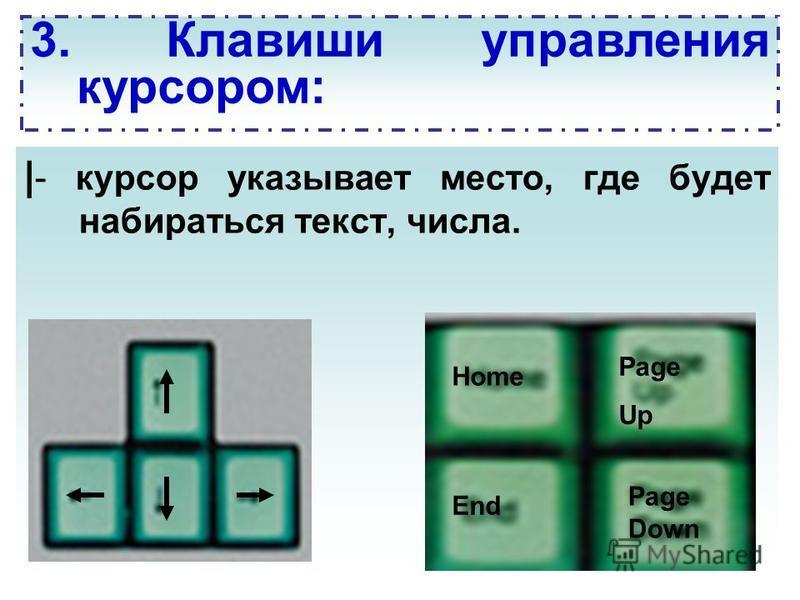 | - курсор указывает место, где будет набираться текст, числа. 3. Клавиши управления курсором: Home End Page Up Page Down