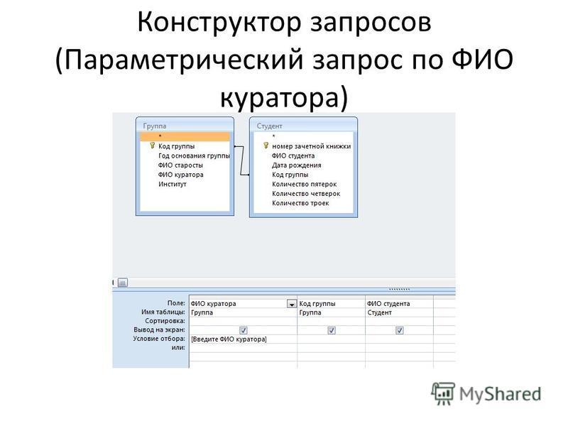 Конструктор запросов (Параметрический запрос по ФИО куратора)