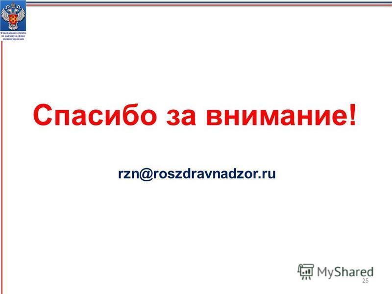Спасибо за внимание! rzn@roszdravnadzor.ru 25