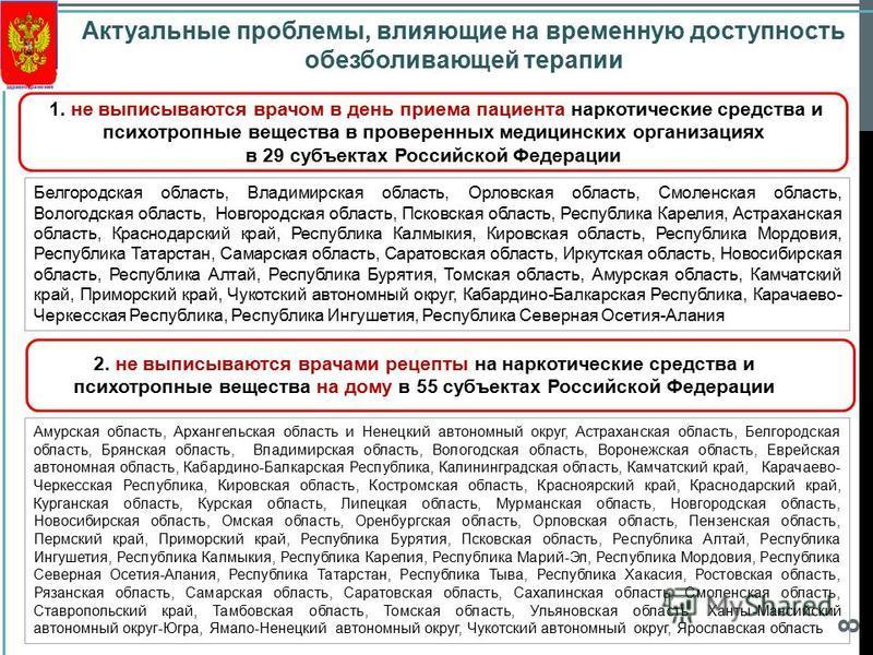 8 Актуальные проблемы, влияющие на временную доступность обезболивающей терапии 1. не выписываются врачом в день приема пациента наркотические средства и психотропные вещества в проверенных медицинских организациях в 29 субъектах Российской Федерации