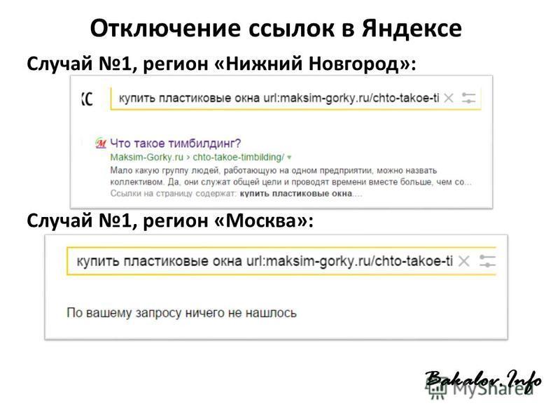 Отключение ссылок в Яндексе Случай 1, регион «Нижний Новгород»: Случай 1, регион «Москва»: