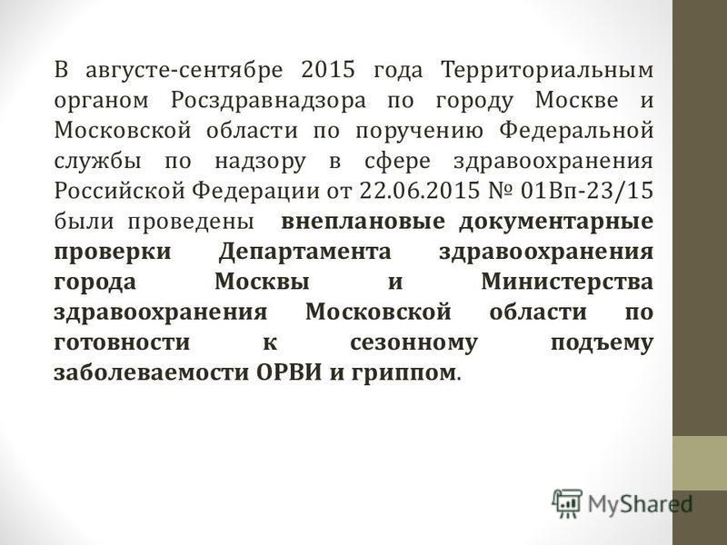 В августе-сентябре 2015 года Территориальным органом Росздравнадзора по городу Москве и Московской области по поручению Федеральной службы по надзору в сфере здравоохранения Российской Федерации от 22.06.2015 01Вп-23/15 были проведены внеплановые док