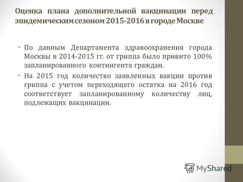 Оценка плана дополнительной вакцинации перед эпидемическим сезоном 2015-2016 в городе Москве По данным Департамента здравоохранения города Москвы в 2014-2015 гг. от гриппа было привито 100% запланированного контингента граждан. На 2015 год количество