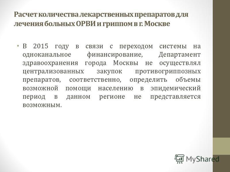 Расчет количества лекарственных препаратов для лечения больных ОРВИ и гриппом в г. Москве В 2015 году в связи с переходом системы на одноканальное финансирование, Департамент здравоохранения города Москвы не осуществлял централизованных закупок проти