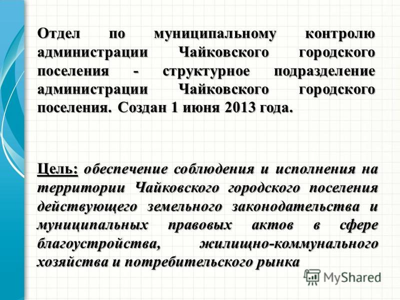 Цель: обеспечение соблюдения и исполнения на территории Чайковского городского поселения действующего земельного законодательства и муниципальных правовых актов в сфере благоустройства, жилищно-коммунального хозяйства и потребительского рынка Отдел п