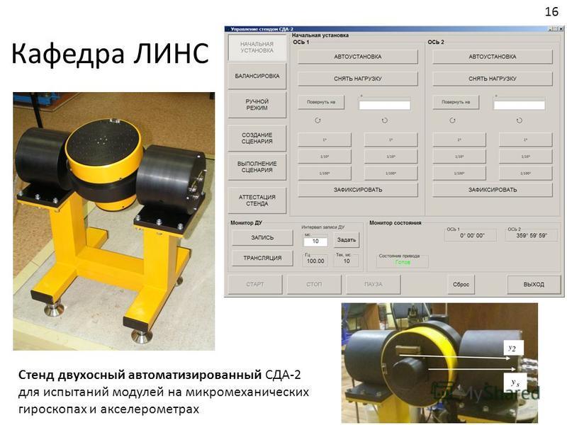 Кафедра ЛИНС Стенд двухосный автоматизированный СДА-2 для испытаний модулей на микромеханических гироскопах и акселерометрах 16