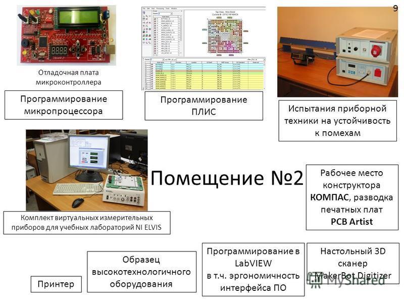 Помещение 2 Настольный 3D сканер MakerBot Digitizer Принтер Рабочее место конструктора КОМПАС, разводка печатных плат PCB Artist Отладочная плата микроконтроллера Программирование микропроцессора Программирование ПЛИС Комплект виртуальных измерительн