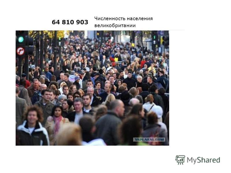 64 810 903 Численность населения великобритании