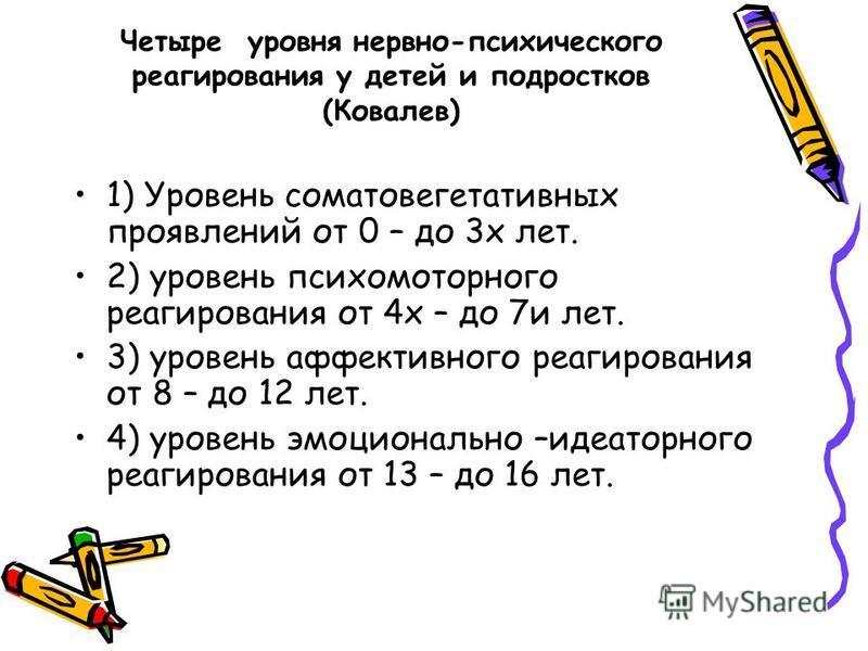 Четыре уровня нервно-психического реагирования у детей и подростков (Ковалев) 1) Уровень соматовегетативных проявлений от 0 – до 3 х лет. 2) уровень психомоторного реагирования от 4 х – до 7 и лет. 3) уровень аффективного реагирования от 8 – до 12 ле
