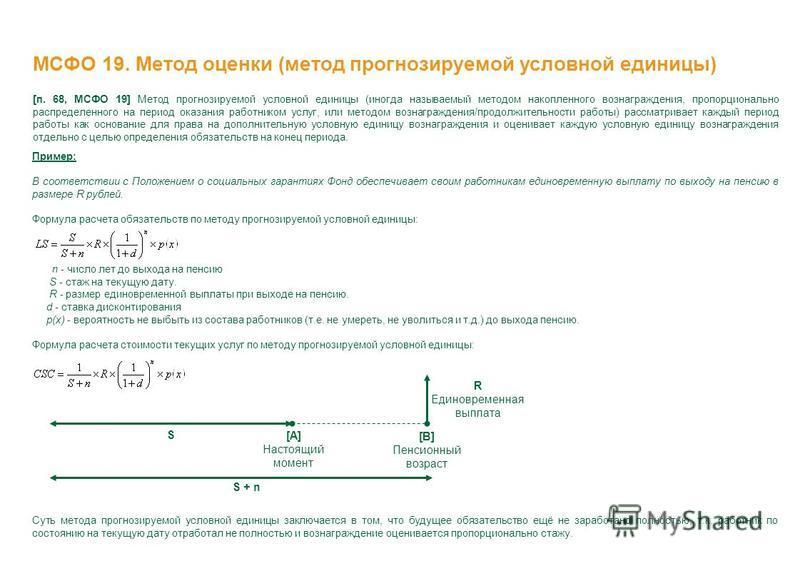 МСФО 19. Метод оценки (метод прогнозируемой условной единицы) [п. 68, МСФО 19] Метод прогнозируемой условной единицы (иногда называемый методом накопленного вознаграждения, пропорционально распределенного на период оказания работником услуг, или мето