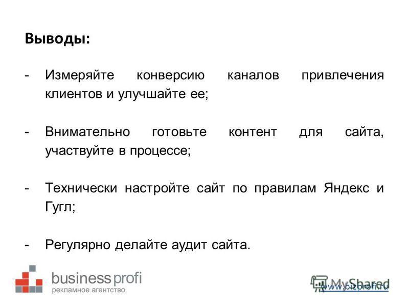 Выводы: -Измеряйте конверсию каналов привлечения клиентов и улучшайте ее; -Внимательно готовьте контент для сайта, участвуйте в процессе; -Технически настройте сайт по правилам Яндекс и Гугл; -Регулярно делайте аудит сайта. www.bizprofi.ru
