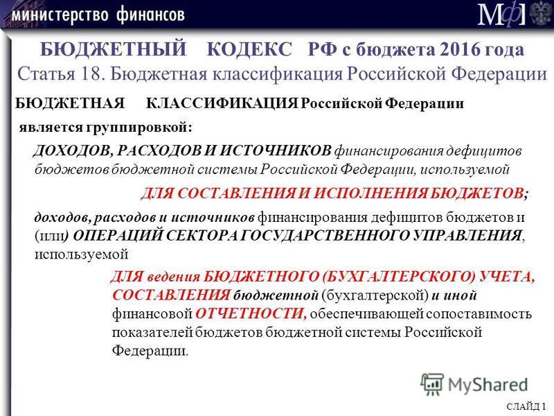 БЮДЖЕТНЫЙ КОДЕКС РФ с бюджета 2016 года Статья 18. Бюджетная классификация Российской Федерации БЮДЖЕТНАЯ КЛАССИФИКАЦИЯ Российской Федерации является группировкой: ДОХОДОВ, РАСХОДОВ И ИСТОЧНИКОВ финансирования дефицитов бюджетов бюджетной системы Рос