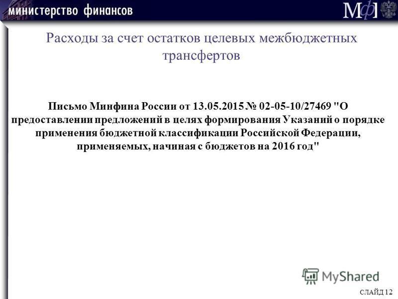 Расходы за счет остатков целевых межбюджетных трансфертов Письмо Минфина России от 13.05.2015 02-05-10/27469