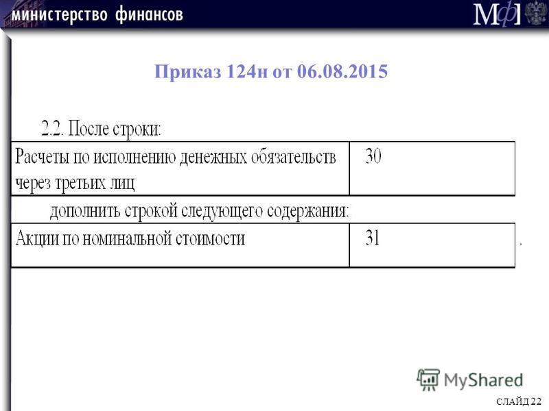 Приказ 124 н от 06.08.2015 СЛАЙД 22
