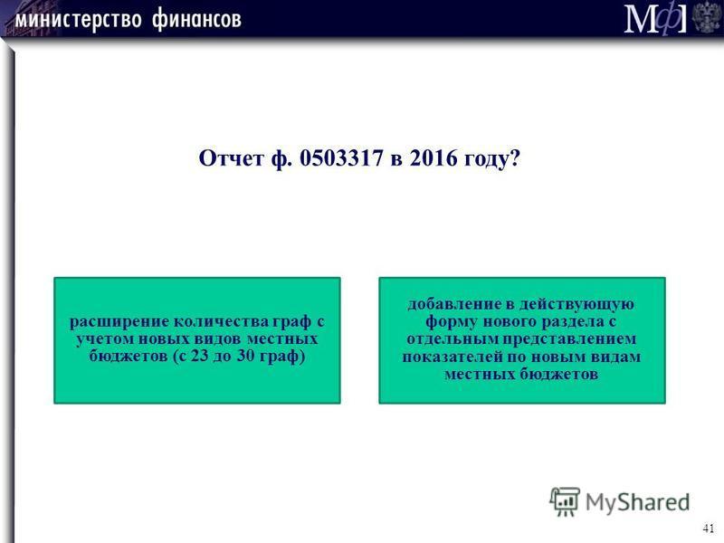Отчет ф. 0503317 в 2016 году? расширение количества граф с учетом новых видов местных бюджетов (с 23 до 30 граф) добавление в действующую форму нового раздела с отдельным представлением показателей по новым видам местных бюджетов 41