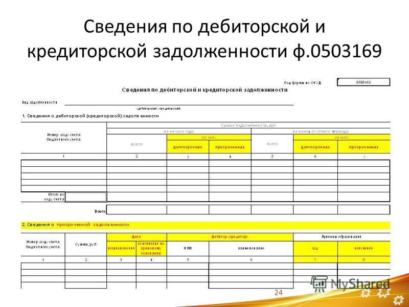 Сведения по дебиторской и кредиторской задолженности ф.0503169 24