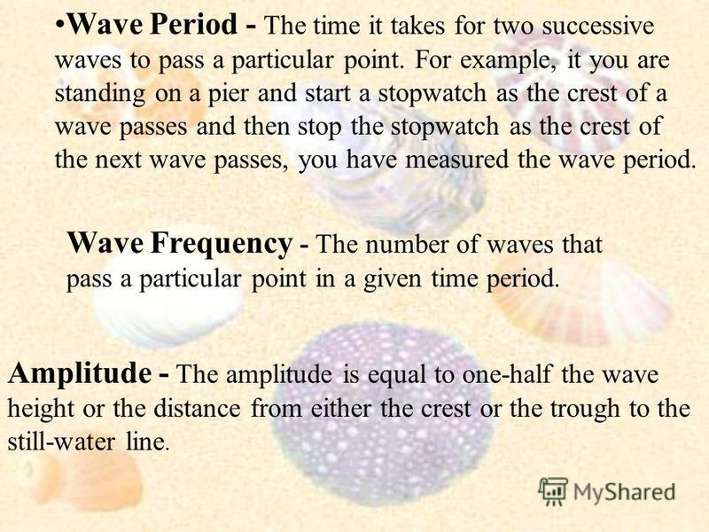 Still-Water Line - The level of the ocean if it were flat without any waves. Crest - The highest part of the wave above the still- water line. Trough - The lowest part of the wave below the still- water line Wave Height - The vertical distance betwee
