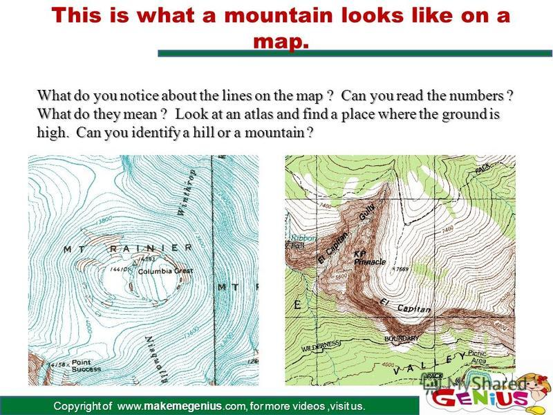 Copyright of www.makemegenius.com, for more videos,visit us. Some funny shaped examples Known as Sugar Loaf and Table, these mountains show the variety of shapes That mountains come in, depending on the exact circumstances surrounding Their creation.