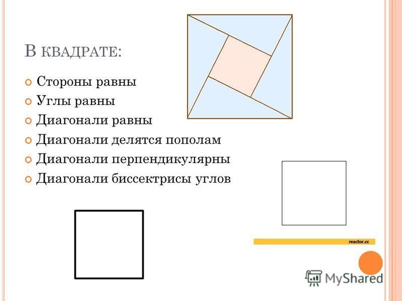 В КВАДРАТЕ : Стороны равны Углы равны Диагонали равны Диагонали делятся пополам Диагонали перпендикулярны Диагонали биссектрисы углов