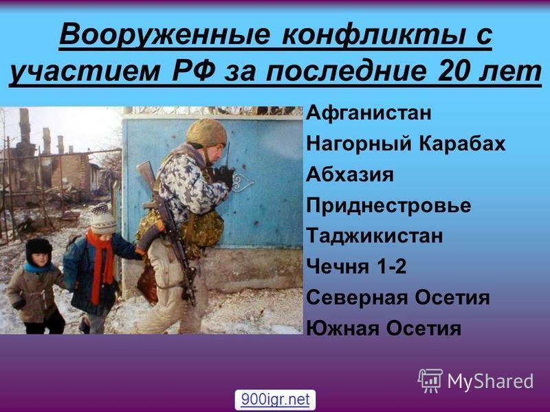Вооруженные конфликты с участием РФ за последние 20 лет Афганистан Нагорный Карабах Абхазия Приднестровье Таджикистан Чечня 1-2 Северная Осетия Южная Осетия 900igr.net