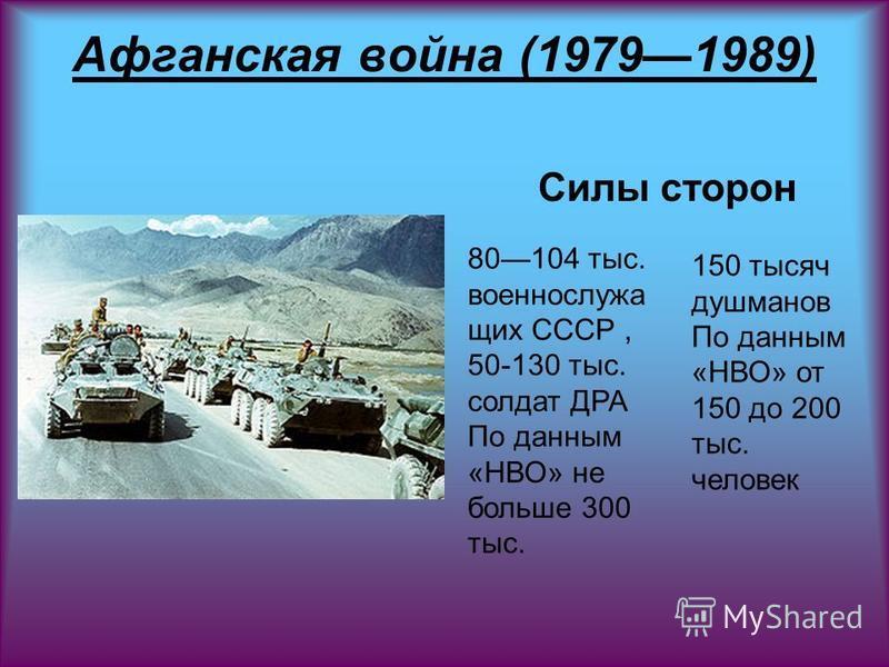 Афганская война (19791989) Силы сторон 80104 тыс. военнослужа щих СССР, 50-130 тыс. солдат ДРА По данным «НВО» не больше 300 тыс. 150 тысяч душманов По данным «НВО» от 150 до 200 тыс. человек