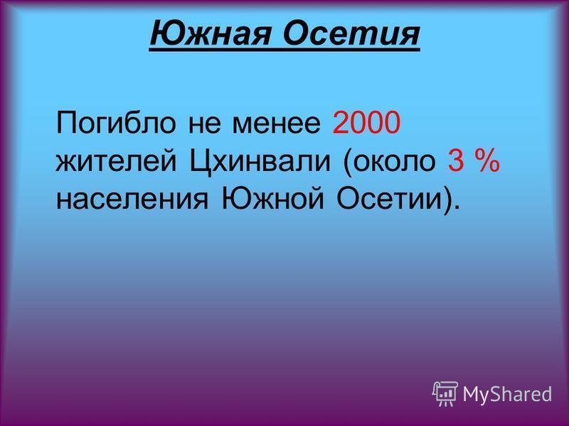 Южная Осетия Погибло не менее 2000 жителей Цхинвали (около 3 % населения Южной Осетии).