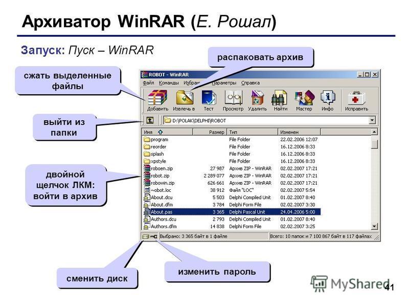 41 Архиватор WinRAR (Е. Рошал) Запуск: Пуск – WinRAR сжать выделенные файлы распаковать архив изменить пароль сменить диск двойной щелчок ЛКМ: войти в архив выйти из папки