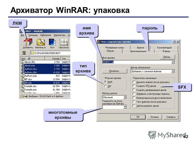 42 Архиватор WinRAR: упаковка ЛКМ тип архива SFX многотомные архивы пароль имя архива