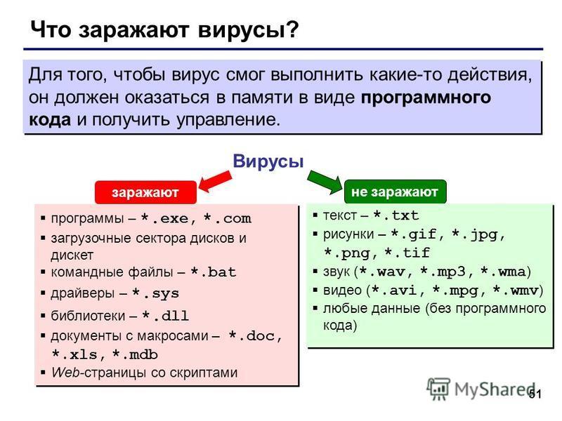 51 Что заражают вирусы? Вирусы программы – *. exe, *. com загрузочные сектора дисков и дискет командные файлы – *.bat драйверы – *. sys библиотеки – *. dll документы с макросами – *.doc, *.xls, *.mdb Web-страницы со скриптами программы – *. exe, *. c