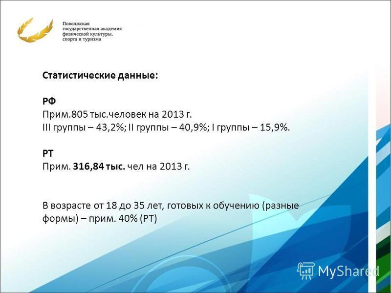 Статистические данные: РФ Прим.805 тыс.человек на 2013 г. III группы – 43,2%; II группы – 40,9%; I группы – 15,9%. РТ Прим. 316,84 тыс. чел на 2013 г. В возрасте от 18 до 35 лет, готовых к обучению (разные формы) – прим. 40% (РТ)
