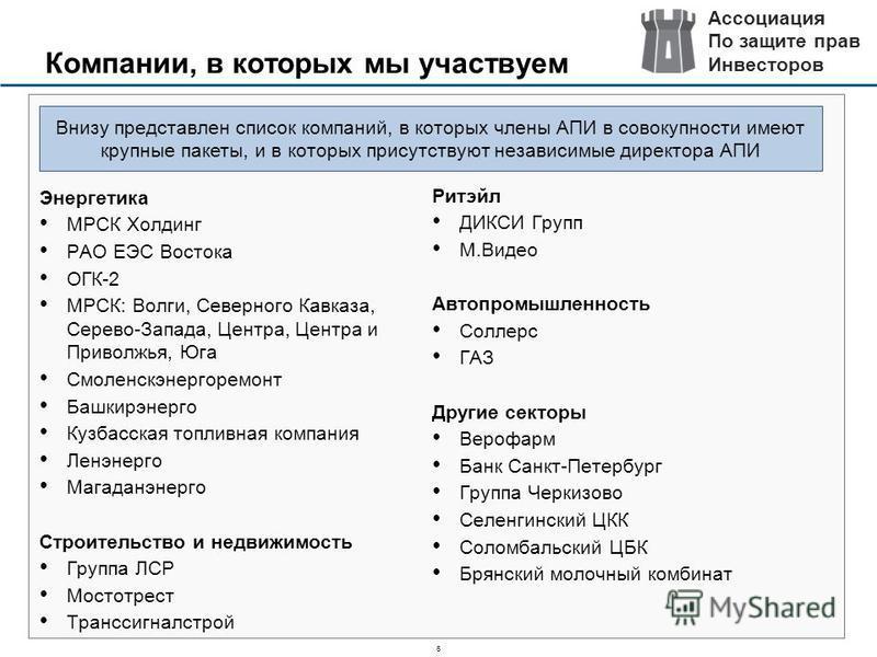 6 Компании, в которых мы участвуем Энергетика МРСК Холдинг РАО ЕЭС Востока ОГК-2 МРСК: Волги, Северного Кавказа, Серево-Запада, Центра, Центра и Приволжья, Юга Смоленскэнергоремонт Башкирэнерго Кузбасская топливная компания Ленэнерго Магаданэнерго Ст