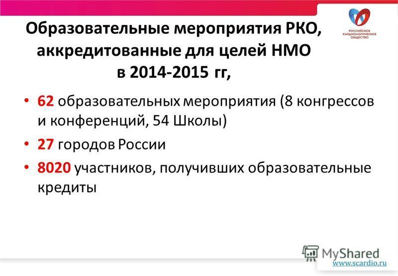 Образовательные мероприятия РКО, аккредитованные для целей НМО в 2014-2015 гг, 62 образовательных мероприятия (8 конгрессов и конференций, 54 Школы) 27 городов России 8020 участников, получивших образовательные кредиты
