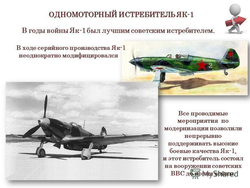 ОДНОМОТОРНЫЙ ИСТРЕБИТЕЛЬ ЯК-1 Истребитель Як-1 В годы войны Як-1 был лучшим советским истребителем. В ходе серийного производства Як-1 неоднократно модифицировался Все проводимые мероприятия по модернизации позволили непрерывно поддерживать высокие б