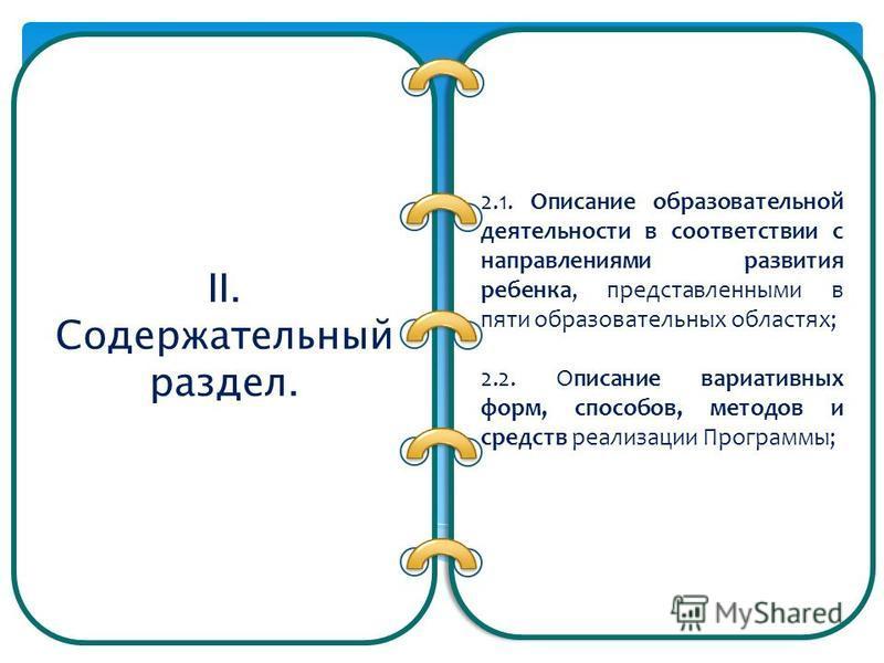 II. Содержательный раздел. 2.1. Описание образовательной деятельности в соответствии с направлениями развития ребенка, представленными в пяти образовательных областях; 2.2. Описание вариативных форм, способов, методов и средств реализации Программы;