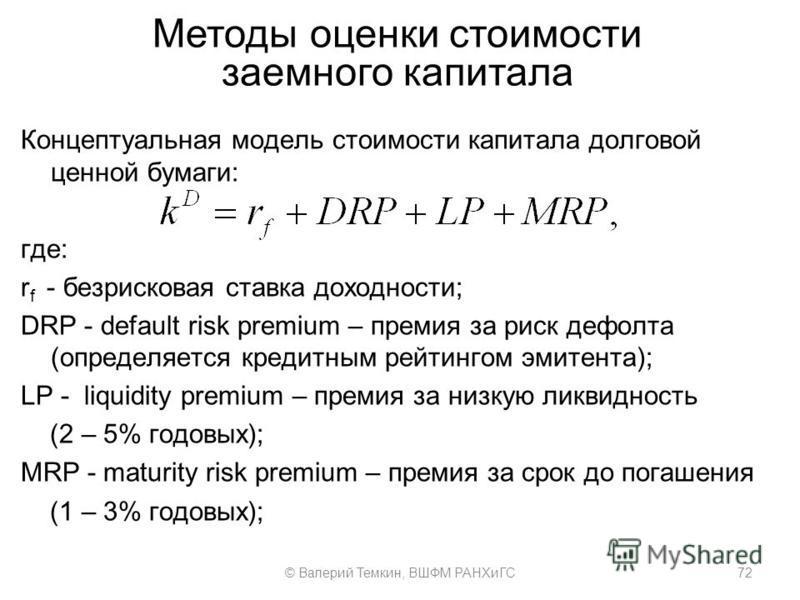Методы оценки стоимости заемного капитала Концептуальная модель стоимости капитала долговой ценной бумаги: где: r f - безрисковая ставка доходности; DRP - default risk premium – премия за риск дефолта (определяется кредитным рейтингом эмитента); LP -