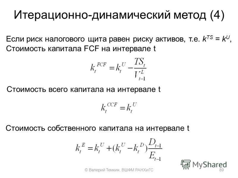 Итерационно-динамический метод (4) Если риск налогового щита равен риску активов, т.е. k TS = k U, Стоимость капитала FCF на интервале t Стоимость собственного капитала на интервале t Стоимость всего капитала на интервале t 89© Валерий Темкин, ВШФМ Р