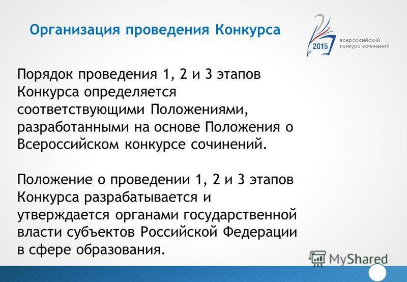Порядок проведения 1, 2 и 3 этапов Конкурса определяется соответствующими Положениями, разработанными на основе Положения о Всероссийском конкурсе сочинений. Положение о проведении 1, 2 и 3 этапов Конкурса разрабатывается и утверждается органами госу